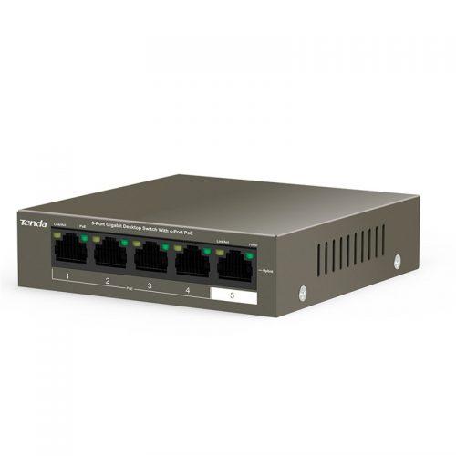 Tenda TEG1105P-4-63W Switch, 5 Port Gigabit Desktop Switch